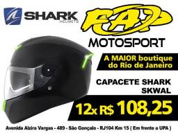 Capacete Moto Shark Skwal Preto Fosco