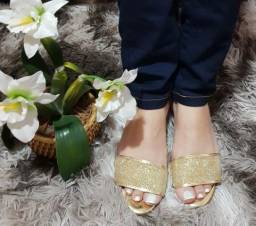 Sandalia Dourada Bico Aberto