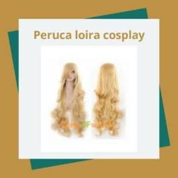 Peruca loira 80cm - cabelo resistente Long Curly Cosplay peruca Oblique bang Calor