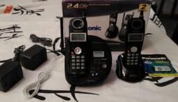 Telefones Panasonic Sem fio c/ Secretária Eletrônica + Ramal. Semi-Novo