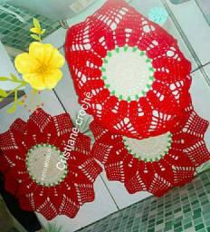 Kit com 3 peças em crochet Girassol