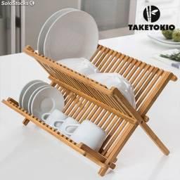 Escorredor de pratos de madeira dobráveis