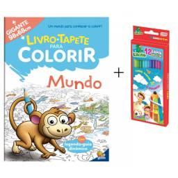 Kit Livro Tapete Infantil Para Colorir Gigante Mundo + Caixa de Lápis de Cor 12 Cores