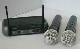 Kit Microfone Sem Fio Duplo Weisre no PGX-51 UHF Profissional