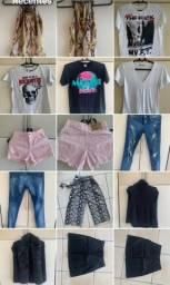 Lote de roupas e calçados feminino
