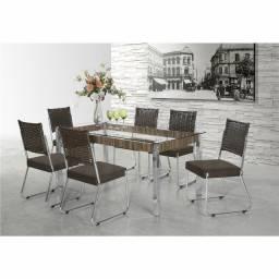 Mesa de Jantar com 6 Cadeiras Aço Nobre Cláudia