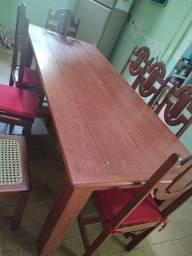 Mesa 8 cadeiras madeira legítima