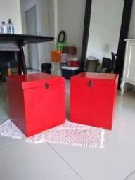 Caixas em madeira maciça decorativas duas peças