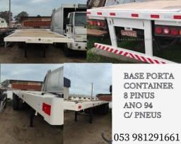 Carreta Base LS Porta Container ano 94 Recém Pintada Com Pneus