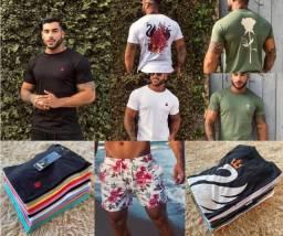 Camisas básicas, no malhão e short praia Cisne Clothing atacado e varejo