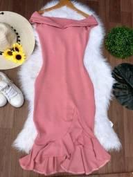 Vestido mide babado moda evangélica barato