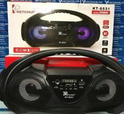 Caixa Som Bluetooth Rádio Fm Usb Sd Mic 10w Rms 2 Kt-6531