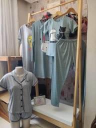 Pijama americano, pijama manga curta, camisola de manga, de alça e BabyDoll