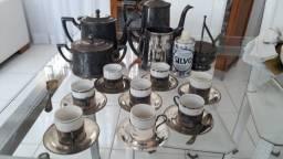 Conjunto de café antigo prata 90