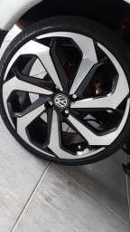Jogo de roda semi novo modelo new jetta sem pneus aro 17 furacão 4x100