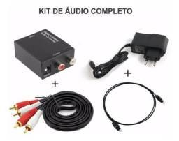 Kit completo cabo optico+cabo rca Conversor de audio digital para analogico converter