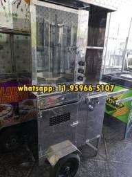 Maquina de churrasco grego com espeto de inox com porta de vidro