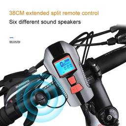 Lanterna Led T6 Farol Bike + Velocímetro digital C/ Fio + Buzina