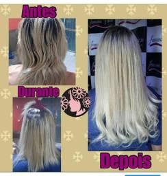 Mega Hair Loiro Aplicado