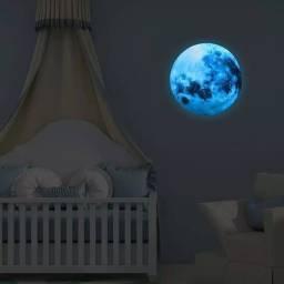 Super Lua Azul Fluorescente 30cm Adesiva Decoracão Brilha E