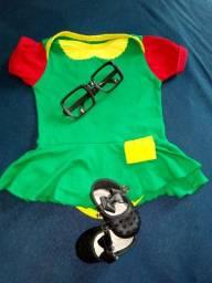 """Body Chiquinha tamanho """"G"""" mesversáio Chaves, com sapatinho e óculos, usados uma vez"""
