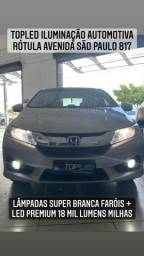 Honda Civic Super Branca Faroís + Premium 18 Mil Lumens Milha