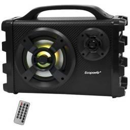 Caixa de Som Karaoke Ecopower EP-2190 25 Watts Bluetooth/USB/FM - Preta/Cinza