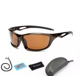 óculos de sol unissex polarizados esportivos marrom