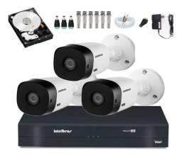 Câmera Intelbras kit 3 Cam Ir 20m Dvr 4 Mhdx 1104 Multi Hd C/ Hd - NOVO na caixa