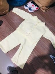 Conjunto tricô bebe unissex inverno
