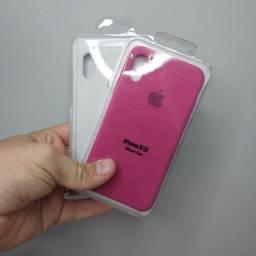 Kit case capinha iPhone X/XS Silicone + película de vidro