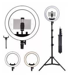 Ring Light Blogueira Iluminador Portátil 26cm Tripé 2,10mc Make