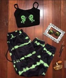 Calça tie dye verde neon