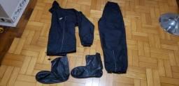 Kit capa de chuva nylon Pantaneiro Tamanho G com gola + brinde polaine de bota