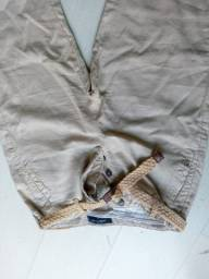 calça marfinno fecho botões c/ cinto palha 42 linho algodão sem manchas
