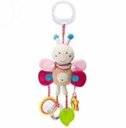 Brinquedo Mordedor Chocalho Mobile Naninha Borboleta Rosa