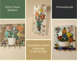 Porta Chave Mosaico, quadro, mosaico, flores