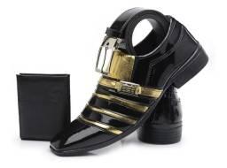 Sapato Social Masculino Verniz Brilhoso Cinto + Carteira de brinde
