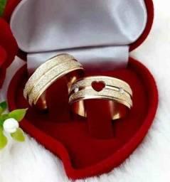 Par De Alianças Ouro 18k Banhada Casamento 8mm