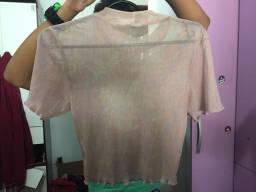 Blusa rosa transparente