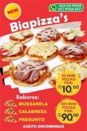 Biapizza's  *mini* pizzas caseiras. Cento 90 reais..