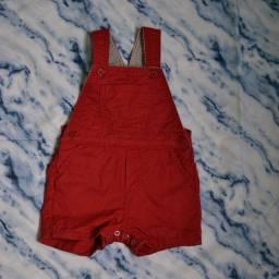 Jardineira infantil vermelha 12 meses