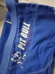 Kimono jiu-jitsu A3 usado  Pit Bull  azul adulto , vendo ou troco por som automotivo