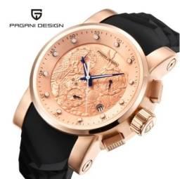 Relógio de Luxo Pagani design dragão chinês calendário à prova dágua silicone quartz