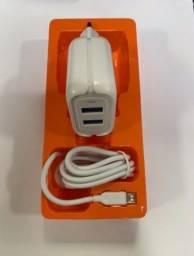 Carregador 5.1A Duplo 2 USB V8 Micro Hmaston Y24-1 Carrega Rápido
