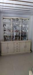 Cristaleira vidro e madeira Marfim. Modelo luxo