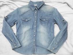 Camisa jaqueta jeans aquamar