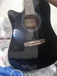 Novo | 12 vendidos<br><br>Violão Memphis Md 18 Bk Preto Folk Elétrico Com Afinador<br><br>