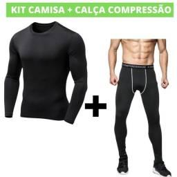 Kit Camisa + Calça de Compressão Manga Longa Térmica UV (Para Moto, Ciclismo Corrida, MMa)