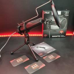 Microfone Mantis Streamer com filtro de grade e Tripé